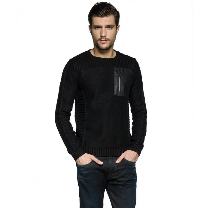 BLACK COTTON JUMPER with a...