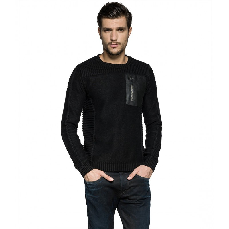 BLACK COTTON JUMPER with a faux letaher pocket-REPLAY-Discounts, shipping 24h-JUMPER-MEN-London-Frankfurt